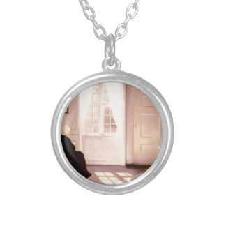 A Woman Reading By A Window Silver Plated Necklace