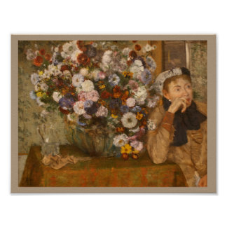 A Woman Seated beside a Vase of Flowers by Degas Poster