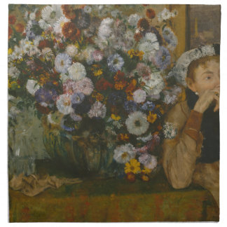 A Woman Seated beside a Vase of Flowers Napkin