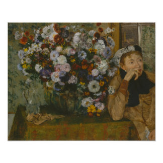A Woman Seated beside a Vase of Flowers Poster