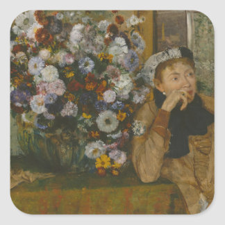 A Woman Seated beside a Vase of Flowers Square Sticker