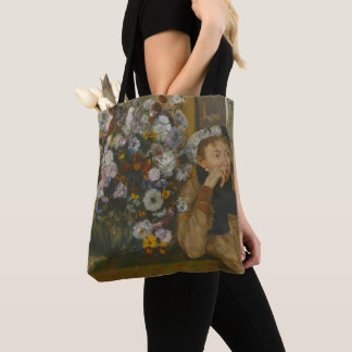 A Woman Seated beside a Vase of Flowers Tote Bag
