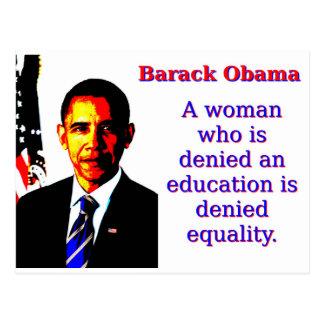 A Woman Who Is Denied - Barack Obama Postcard