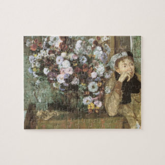 A Woman With Chrysanthemums by Edgar Degas Jigsaw Puzzle