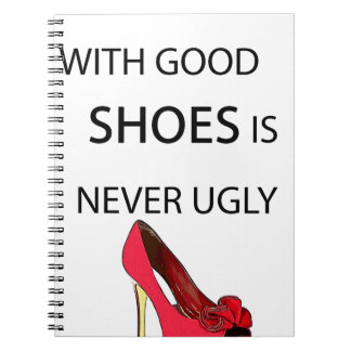 a woman with good shoes notebooks