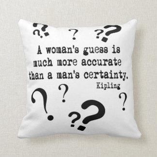 A Woman's Guess Throw Pillow