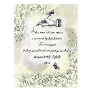 """A womans hands"" Quote Postcard"