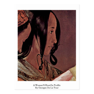 A Woman'S Head In Profile By Georges De La Tour Postcard