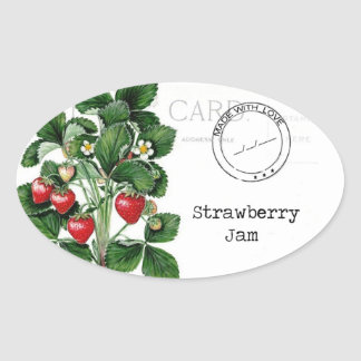 A wonderful label to customise your strawberry jam oval sticker