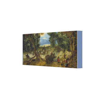 A Wooded Landscape With Travelers on a Path Canvas Print
