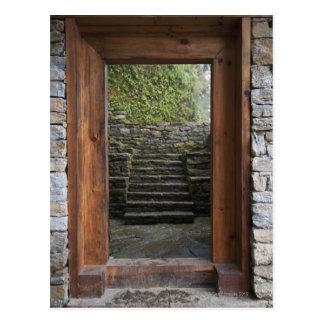 A wooden doorway in trongsa museum postcard