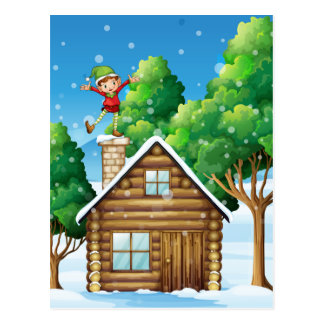 A wooden house with a playful elf at the rooftop postcard