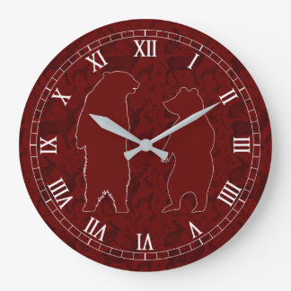 A Woodland Bear Couple in Deep Red Faux Glitter Large Clock