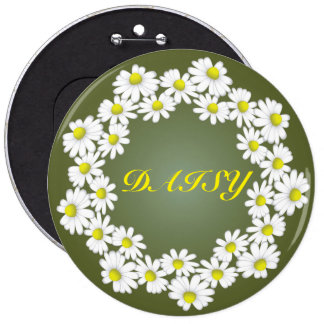 A wreath of white daisies magnet 6 cm round badge