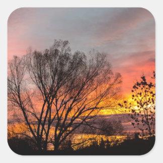 A Wyoming Sunrise Square Sticker