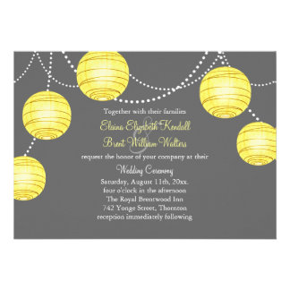 A Yellow & Gray Party Lanterns Wedding Invitation