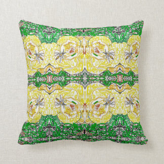 A yellow rose and a wasp cushion