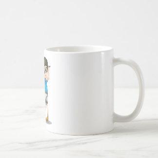 A young boy playing golf coffee mug