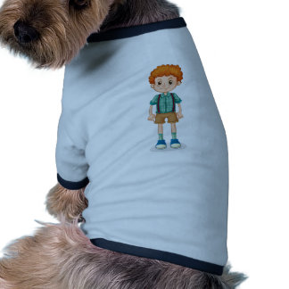 A young boy with a curly hair ringer dog shirt