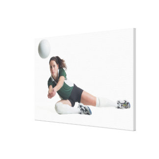 a young caucasian female volleyball player in a canvas print