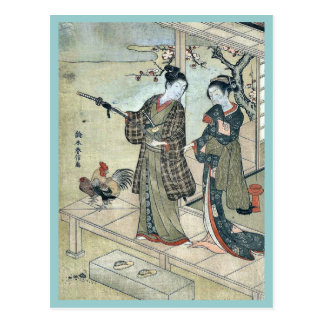 A young dandy and a woman by Suzuki,Harunobu Postcard