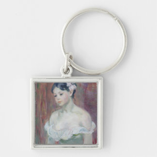 A Young Girl, 1893 Silver-Colored Square Key Ring