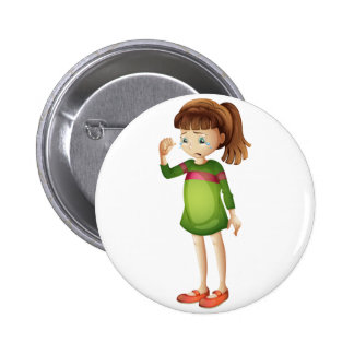 A young girl crying 6 cm round badge