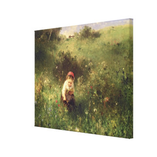A Young Girl in a Field Gallery Wrap Canvas