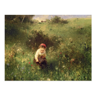 A Young Girl in a Field Postcard
