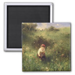 A Young Girl in a Field Square Magnet