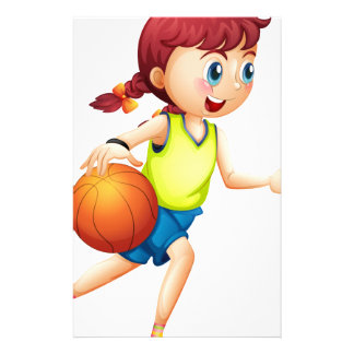 A young girl playing basketball stationery paper