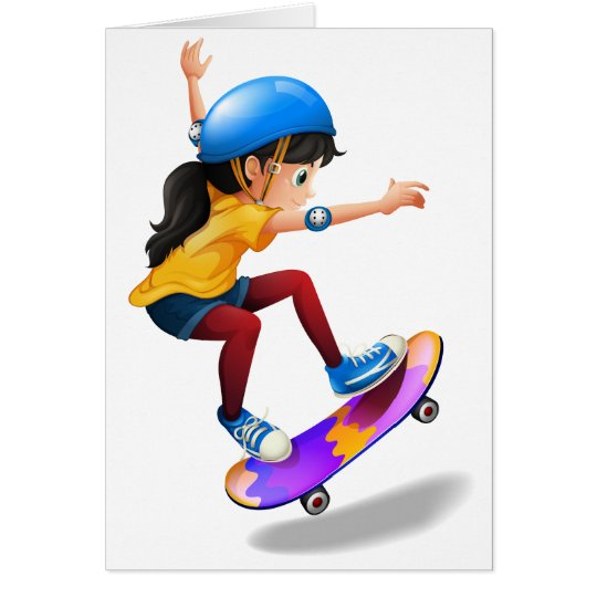 A young girl skateboarding card