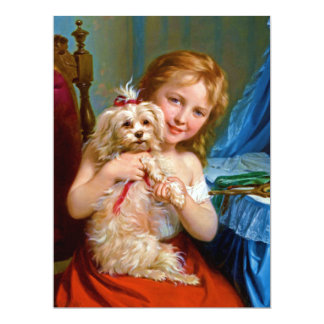 A Young Girl With A Bichon Frise (dog) ~ 17 Cm X 22 Cm Invitation Card