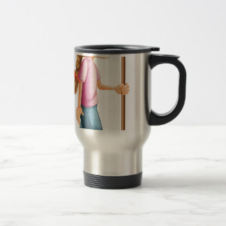 A young lady hiking with a stick stainless steel travel mug