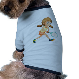 A young lady playing tennis ringer dog shirt