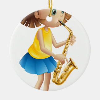 A young lady playing with the saxophone ceramic ornament