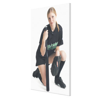 a young smiling caucasian woman is wearing a stretched canvas prints