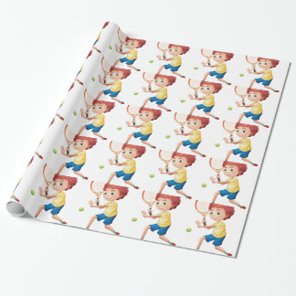 A young tennis player wrapping paper