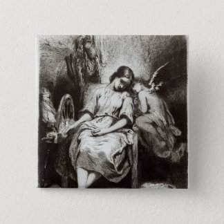 A Young Woman Dozing with an Angel 15 Cm Square Badge