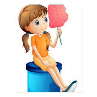 A young woman eating a cotton candy post card