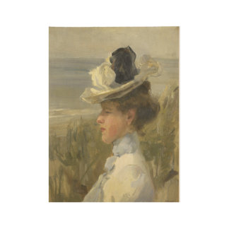 A Young Woman looking out over the Sea, Isaac Isra Wood Poster