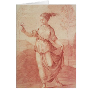 A Young Woman walking bare-footed in a Landscape Card