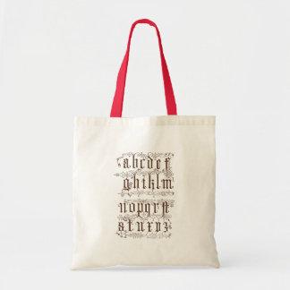 A-Z Alphabet Illustrative accesories Budget Tote Bag