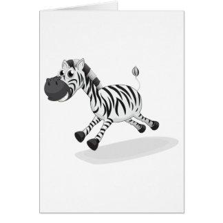 A zebra running greeting card