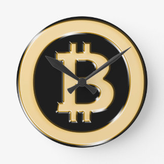 AA568-Bitcoin-Made-of-Gold-symbol Round Clock