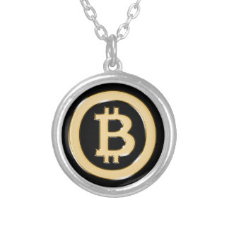 AA568-Bitcoin-Made-of-Gold-symbol Silver Plated Necklace