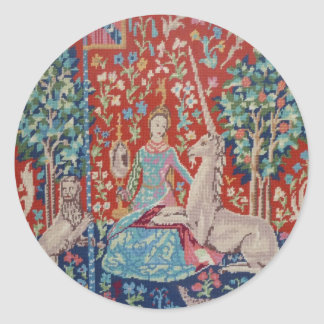 AA- Lady and the Unicorn Tapestry Art Design Plate Round Sticker