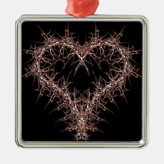 aaa-r-6rotes heart Silver-Colored square decoration