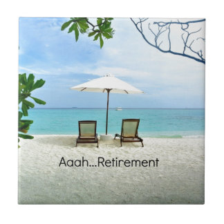 Aaah...retirement, relaxing beach scene ceramic tile