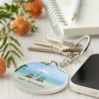 Aaah...retirement, relaxing beach scene key ring